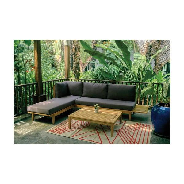 Zestaw sofy i stolika z drewna egzotycznego Ezeis Alaia