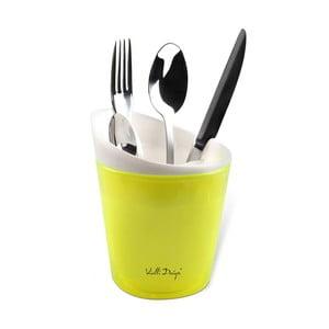 Żółty pojemnik na sztućce Vialli Design Livo