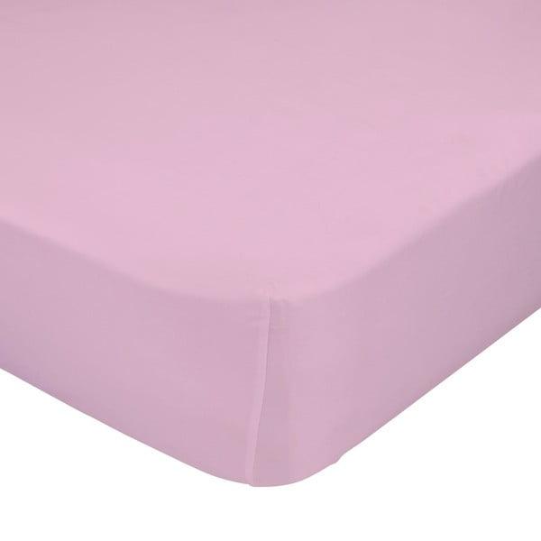 Jasnoróżowe elastyczne prześcieradło HF Living Basic, 90x200 cm