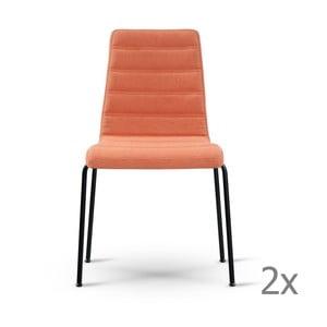 Zestaw 2 pomarańczowych krzeseł z czarnymi nogami Garageeight