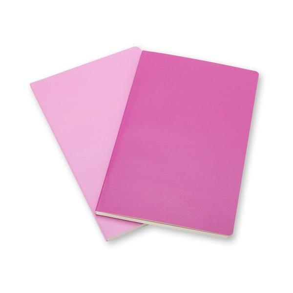 Zestaw 2 notesów Moleskine Volant 13x21 cm, różowy + czyste strony