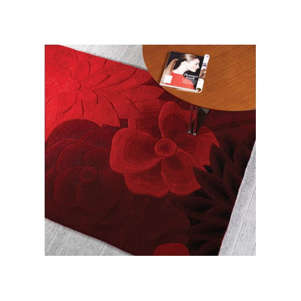 Dywan wełniany Eden, 90x150 cm, czerwony