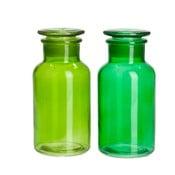 Zestaw 2 pojemników Glass Green, 8x8x18 cm