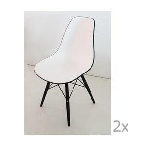 Zestaw 2 czarno-białych krzeseł Castagnetti Poly