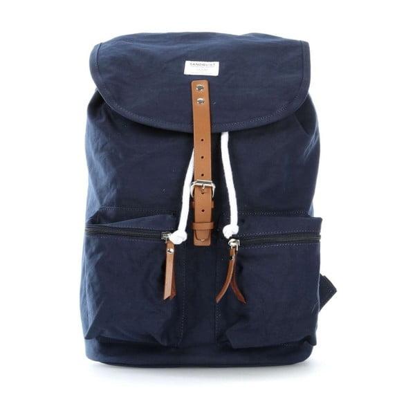 Ciemnoniebieski plecak ze skórzanymi detalami Sandqvist Roald