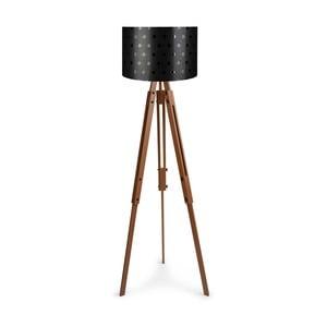 Lampa stojąca z czarnym abażurem Homitis Retro