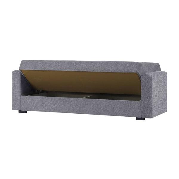 Jasnoszara dwuosobowa sofa rozkładana ze schowkiem Esidra Relax