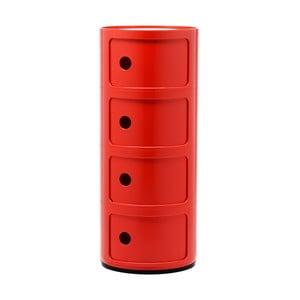 Czerwona szafka z 4 szufladami Kartell Componibili