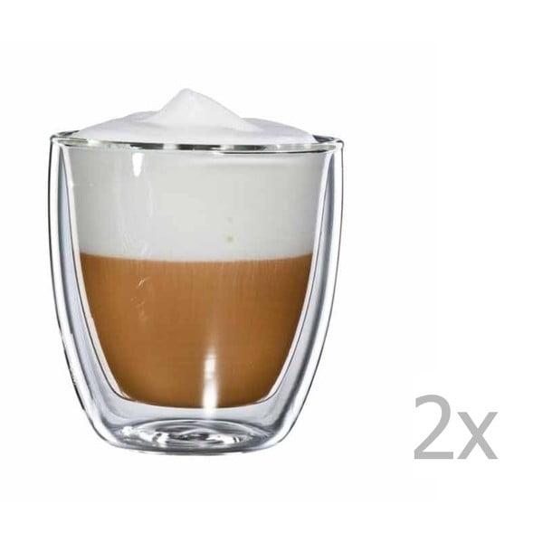 Zestaw 2   szklanych kubków na cappuccino bloomix
