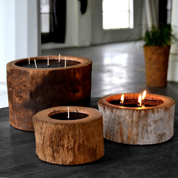 Palmowa świeczka Legno o zapachu wanilii i paczuli, 320 godzin palenia