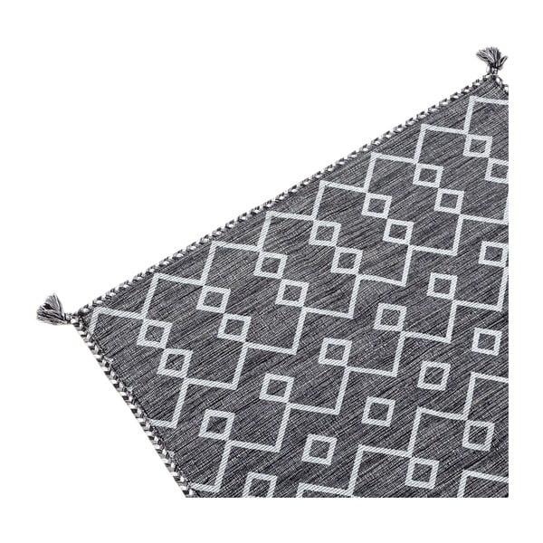 Ciemnoszary dywan ręcznie tkany Navaei & Co Kilim Elegant 12, 110x60 cm