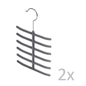 Zestaw 2 szarych wieszaków na krawaty Bonita Velvet Hangers