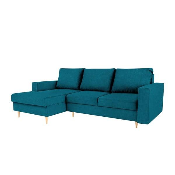 Turkusowa sofa rozkładana z szezlongiem po lewej stronie Mazzini Sofas Iris