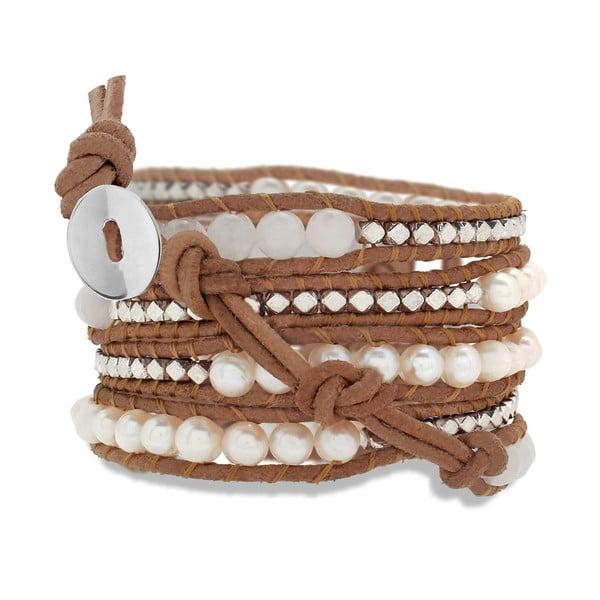 Brązowa pięciorzędowa bransoletka ze skóry z perłami a kamínky Lucie & Jade