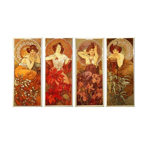 """Zestaw 4 obrazów """"The Precious Stone"""" (Alfons Mucha), 30x70 cm"""