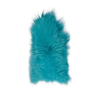 Niebieska skóra owcza z długim włosiem, 90x60 cm