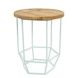 Jasnozielony stolik z drewnianym blatem HF Living Hexa Mint mini