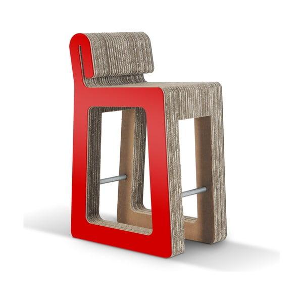 Barowe kartonowe krzesło Hook Stool Red