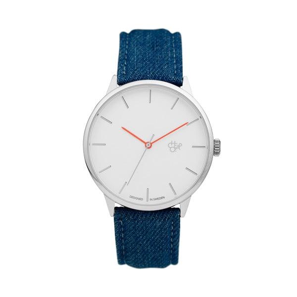 Zegarek z niebieskim paskiem i białą tarczą Cheapo Khorshid Denim