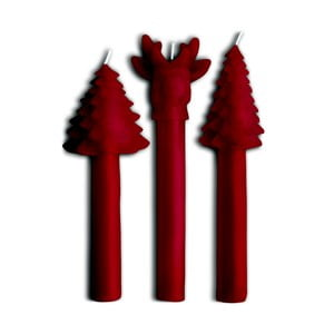 Zestaw 3 świeczek Tree Red