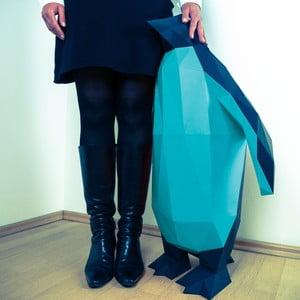 Papierowa rzeźba Pingwin XL, czarno-niebieska