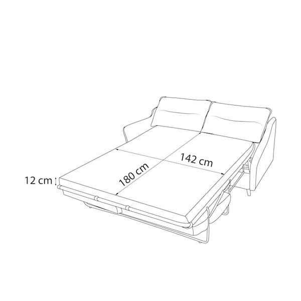 Jasnoszara 3-osobowa sofa rozkładana Bobochic Paris Loft