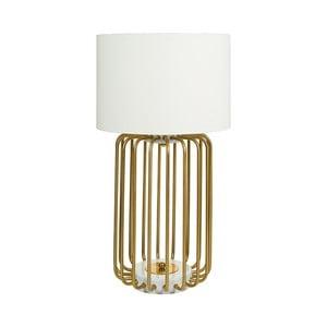 Biała lampa stołowa z podstawą w złotej barwie Santiago Pons Pam, ⌀40cm