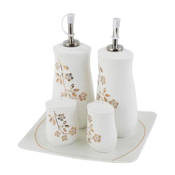 Solniczka, pieprzniczka oraz naczynia na oliwę i ocet Flower Design