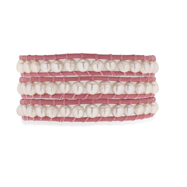 Różowa bransoletka skórzana z perłami Nova Pearls Copenhagen Leather Pink