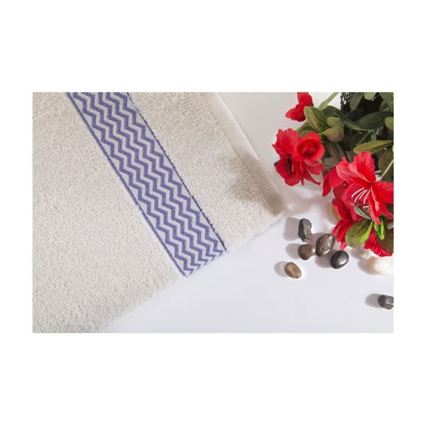 Fioletowo-biały ręcznik kąpielowy z bawełny Ladik Ella, 70x140 cm