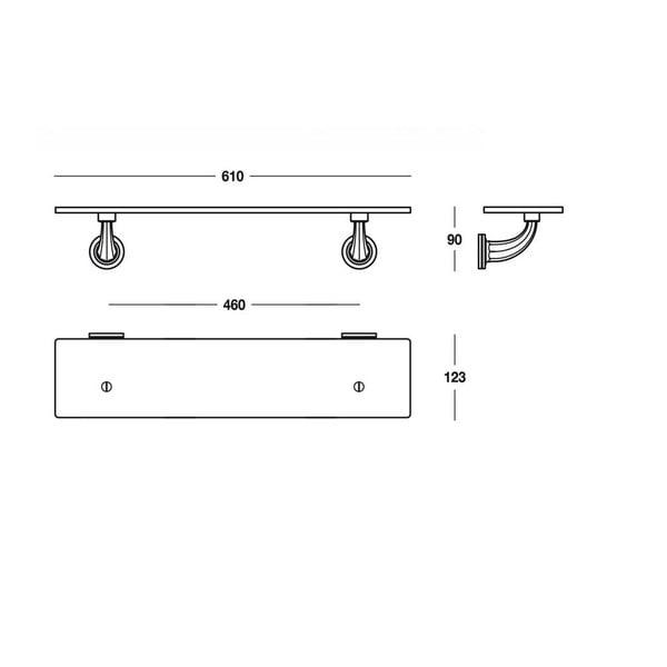 Półka Chromo Shelf, 61x9x12,3 cm
