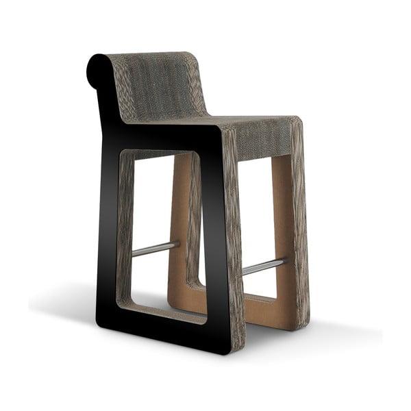 Barowe kartonowe krzesło Knob Stool Black