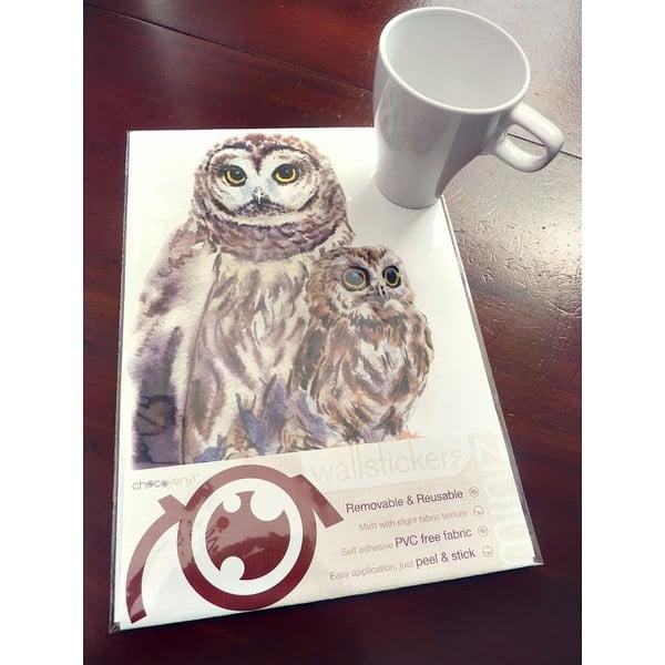 Naklejka wielokrotnego użytku Woodland Owls, 30x21 cm