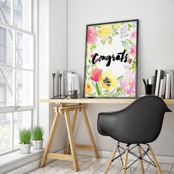 Plakat z kwiatami Congrats, 30 x 40 cm