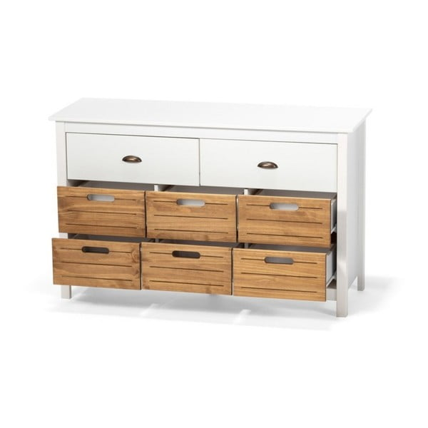 Biała komoda z drewna sosnowego z 8 szufladami loomi.design Ibiza