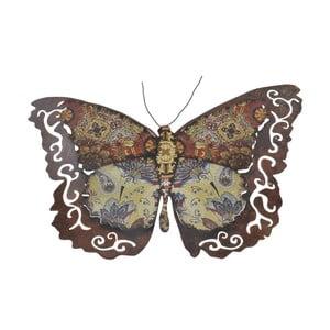 Metalowy motyl na ścianę, 34 cm, brązowy