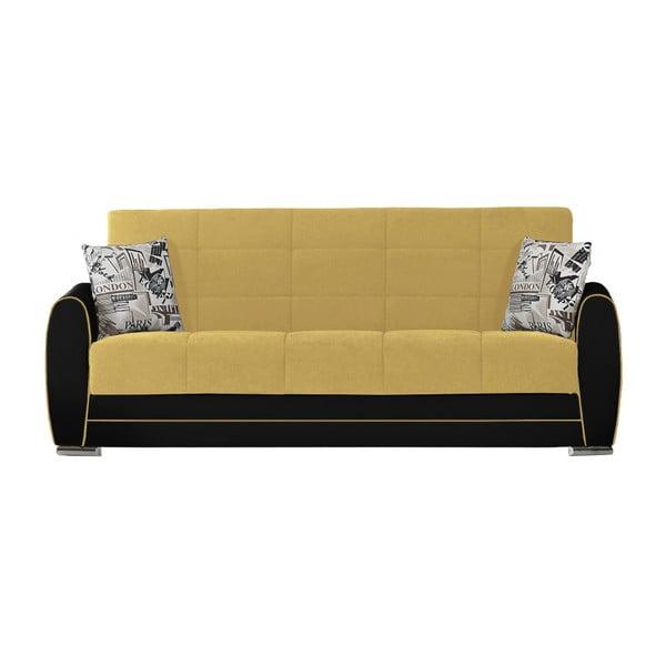 Ciemnożółto-czarna trzyosobowa sofa rozkładana ze schowkiem Esidra Rest