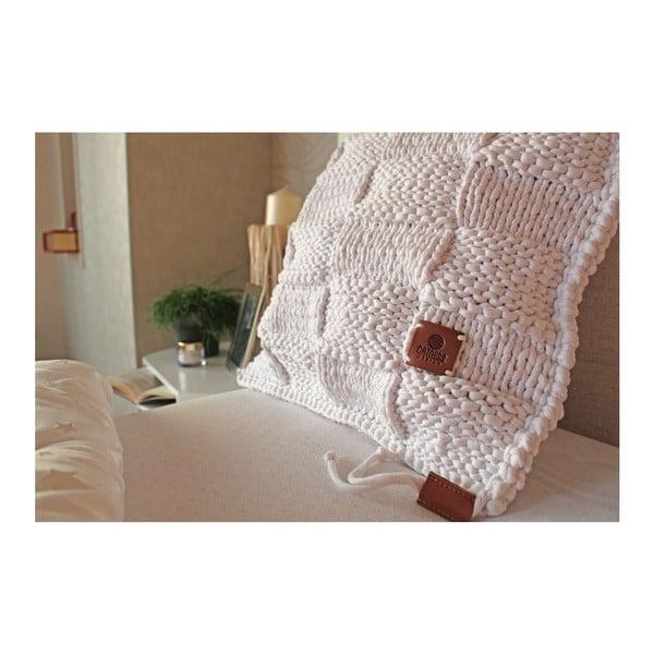 Poduszka dziergana Catness, biała kostka, 50x50 cm