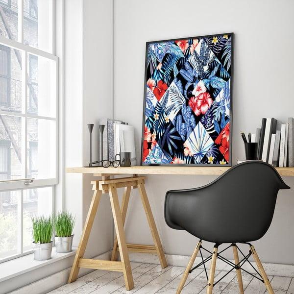 Plakat z kwiatami, czarno-białe tło, 30 x 40 cm