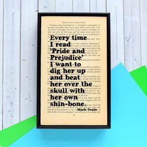 Plakat   w drewnianej ramie Mark Twain Pride and Prejudice