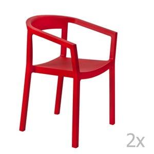 Zestaw 2 czerwonych krzeseł ogrodowych z podłokietnikami Resol Peach