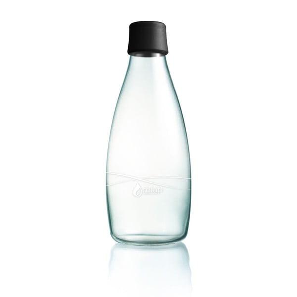 Czarna butelka ze szkła ReTap z dożywotnią gwarancją, 800 ml