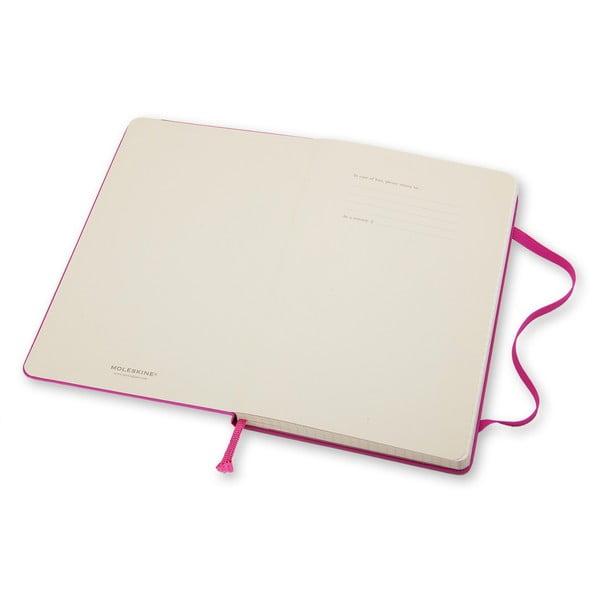 Różowy notatnik w kratkę Moleskine Hard, duży
