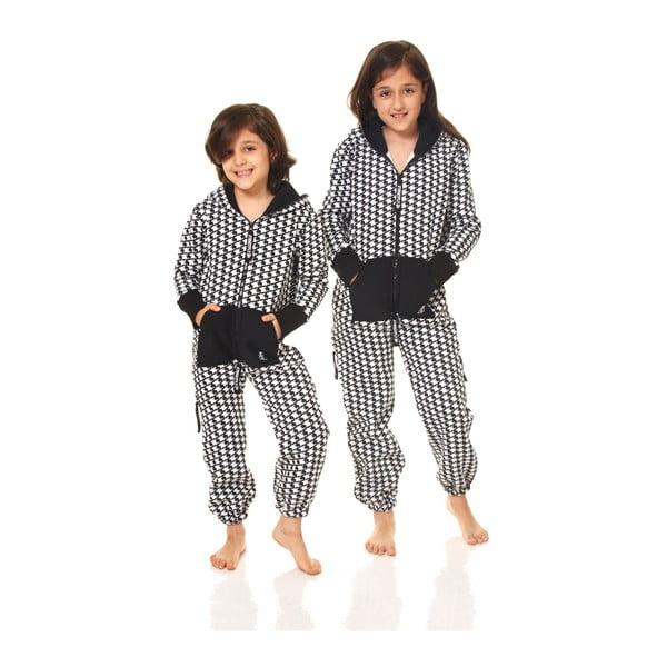 Czarno-biały dziecięcy kombinezon domowy Streetfly, dla dzieci 8-9 lat