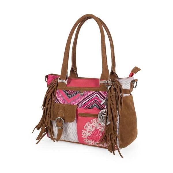 Różowo-biała torebka z frędzlami Lois, 35 x 25 cm