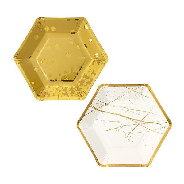 Zestaw 8 papierowych talerzy Hexagonal Gold