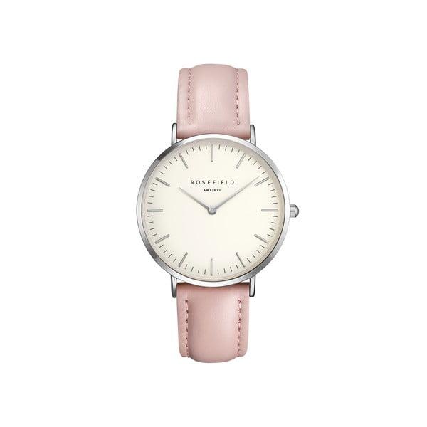 Srebrno-różowy zegarek damski Rosefield The Bowery