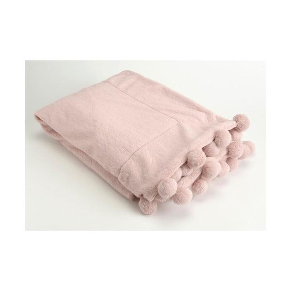 Koc Pompon Pink, 130x170 cm