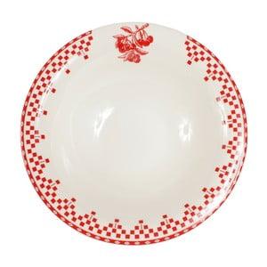 Czerwono-biały talerz Comptoir de Famille Damier, 20 cm