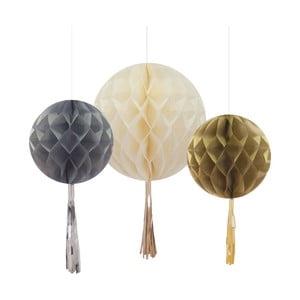 Zestaw 3 papierowych dekoracji Honeycomb With Tassels